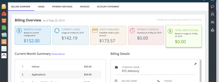 INFINCE Billing Overview