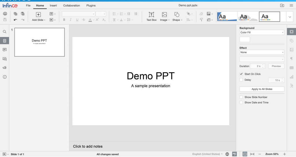 Editing a presentation in InfinCE