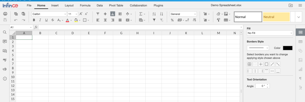 Editing a Spreadsheet in InfinCE