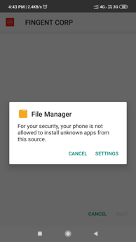 Prompt to allow installation of INFINCE App.
